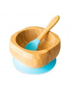 Bol Bambu + Cuchara Azul Eco