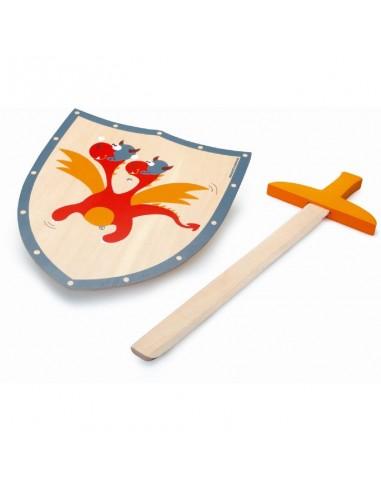 Escudo y Espada de Madera Dragon Rojo