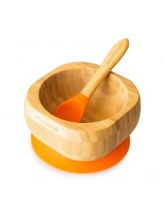 Bol Bambu + Cuchara Naranja...