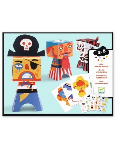 Crear con pegatinas - Piratas
