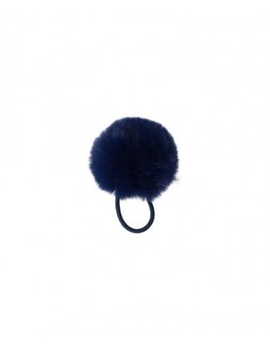 Goma para el pelo con Pompom Azul Marino